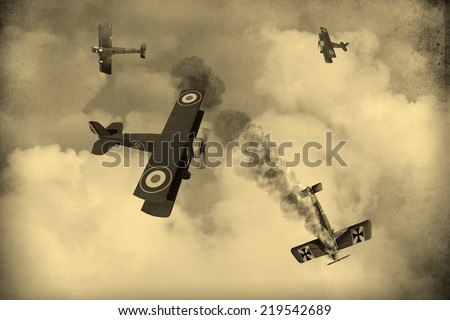 'Vintage Style Image' of World War One Aircraft in a dogfight over the battlefields of Europe. British vs Germans. (Computer Art) - stock photo
