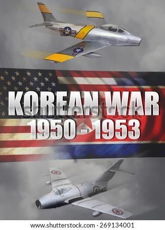 'Vintage style' Korean War aircraft digital illustration banner or background. - stock photo