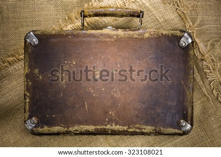 vintage suitcase on the canvas