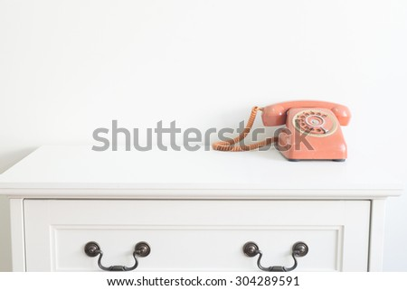 vintage telephone in room    - stock photo