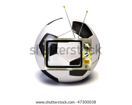 vintage television in the soccer ball - stock photo