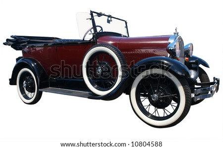 1928 Vintage Tourer isolated with clipping path - stock photo