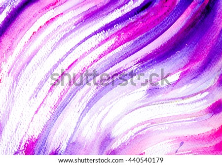 Violet, pink and blue waves with watercolor.Vintage grunge texture. Abstract watercolor hand painted brush strokes. - stock photo