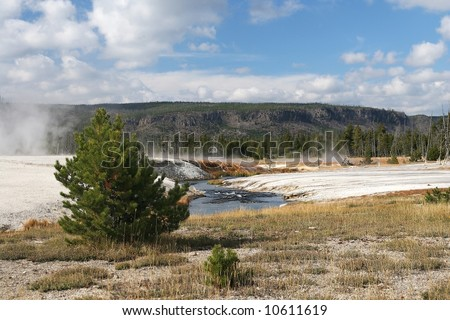 volcanic landscape in Yellowstone NP - stock photo