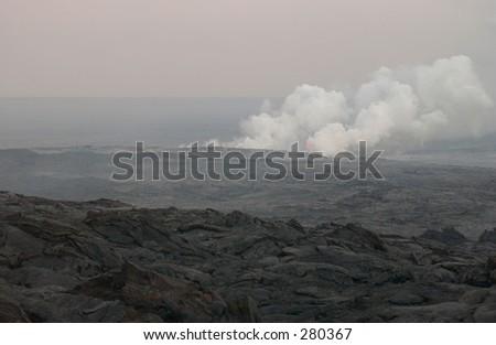 """Volcanic steam, Volcano National Park, Hawaii, (Keith Levit)"" - stock photo"