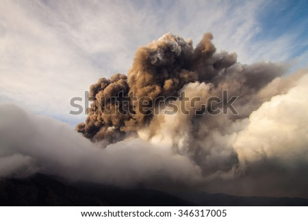 Volcano Etna Eruption and lava flow in Italy - stock photo