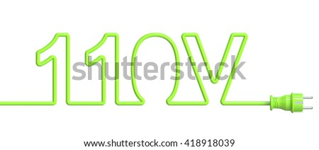110 Volt concept from green wire and plug. 3D rendering - stock photo