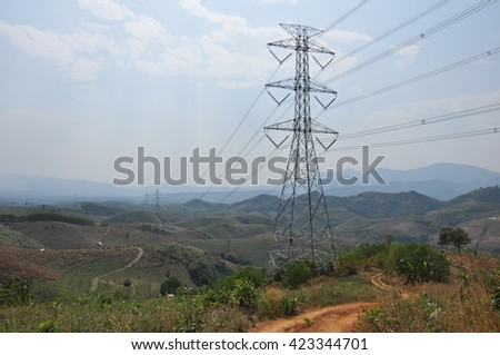 500,000 volts Suspension Transmission Latice Tower. - stock photo