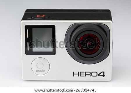 Voronezh, Russia - March 23, 2015: The compact camera for shooting sports and recreation and tourism. GoPro Hero 4 Black Edition - stock photo