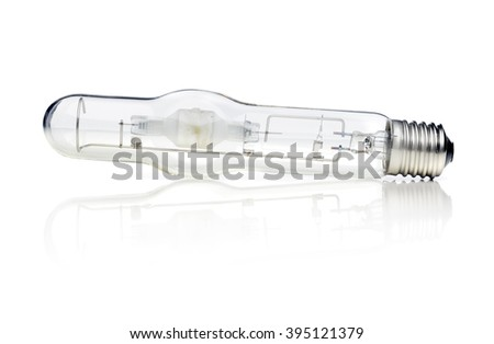 400W E40 metal halide lamp bulb isolated on white with reflection.