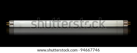 8W fluorescent tube lamp isolated on a black background - stock photo