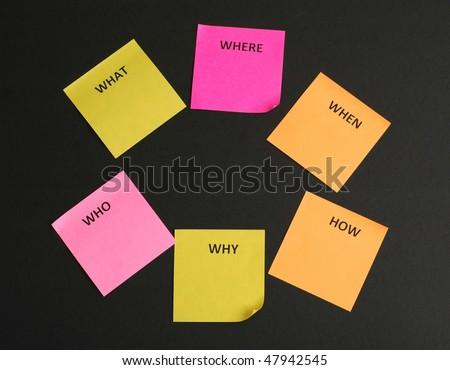 5W1H Sticky notes - stock photo