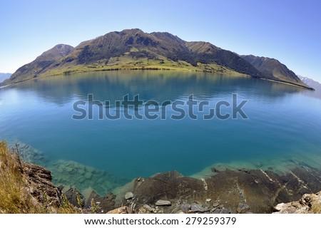 Wakatipu lake landscape in New Zealand. - stock photo