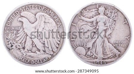 1945 Walking Liberty Half Dollar Value. USA. Both sides isolated on white background. Old coin.