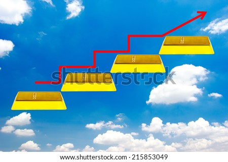 walking up gold bars stepping ladder have red rising arrow on blue sky idea concept  for success and growth   - stock photo