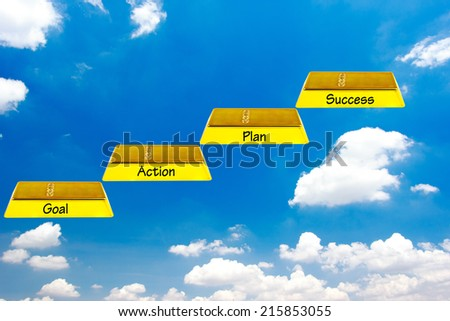 walking up gold bars stepping ladder on blue sky idea concept for success and growth  - stock photo
