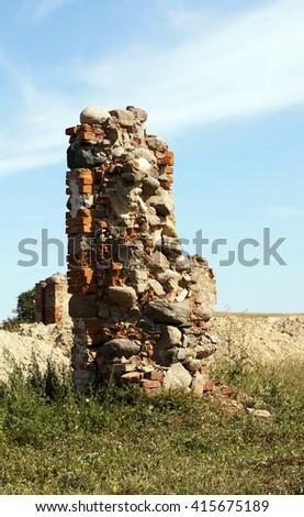 wall crumbling building - stock photo