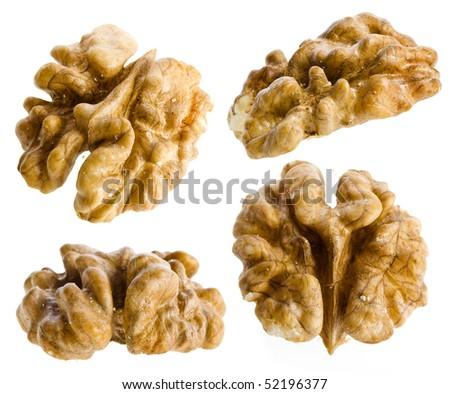 walnut kernel set close up isolated on white background - stock photo