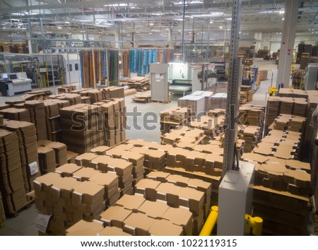 Warehouse of cardboard products