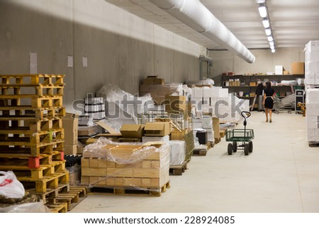 warehouse of store or industry plant - stock photo