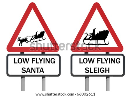 Warning sign of santa and his sleigh - stock photo
