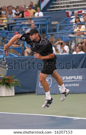 WASHINGTON, D.C. - AUGUST 14, 2008:  Andy Roddick (USA) defeats Eduardo Schwank (ARG, not pictured) at the Legg Mason Tennis Classic - stock photo