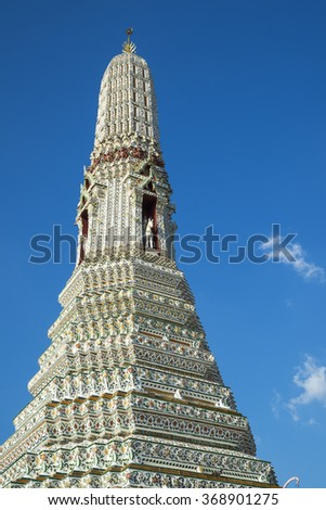 Wat Arun or the Temple of Dawn. After the update is completed, a popular tourist destination in Bangkok,Thailand. The beautiful ancient architecture in detail of temple. - stock photo