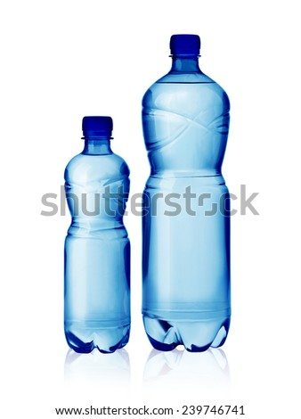 water bottles isolated on white with clipping path - stock photo