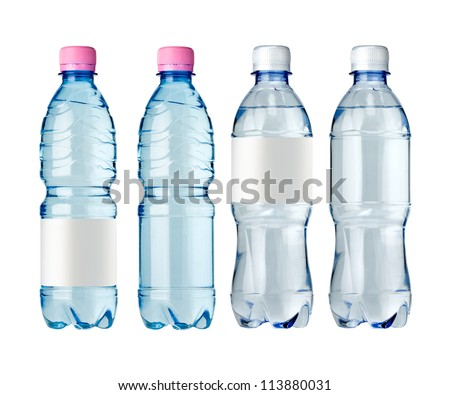 Soda Water Bottles Blank Label Isolated Stock Photo 113363512 ...
