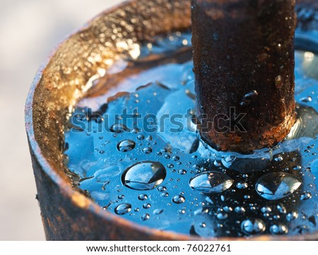water drop on oil - stock photo