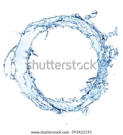 Water splash circle isolated on white background - stock photo