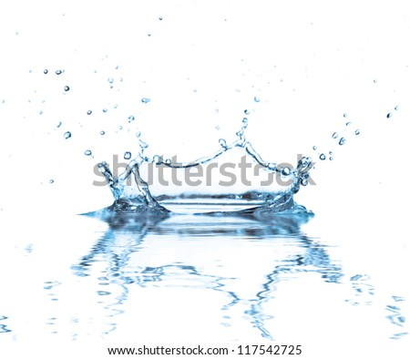 Water splash with reflection, isolated on white background