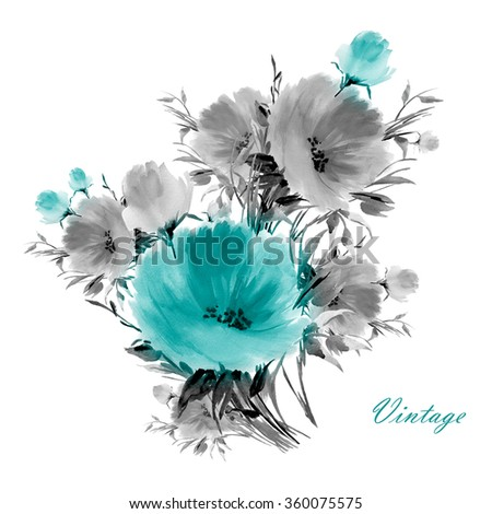 Watercolor flower bouquets. A vivid illustration for your design and decoration. Vintage. Toned. - stock photo