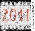 2011 - Watercolor new year celebration - stock photo