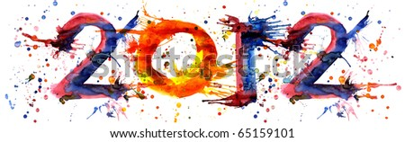 2012 - Watercolor paint symbols - stock photo
