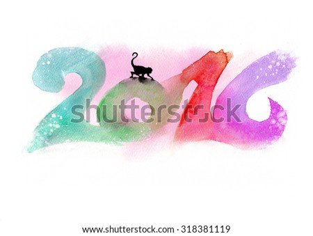 2016 watercolor painting. Chinese Horoscope 2016 - Year of the Monkey   - stock photo