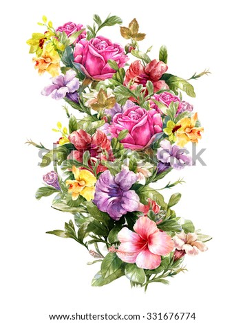 Watercolor Painting Of Different Flowers On White Background