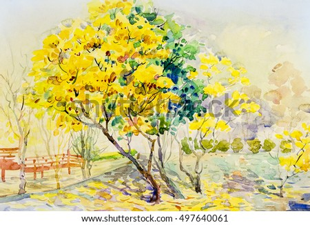 tree with flowers painting yellow flowers golden shower tree summer stock photo 132901112