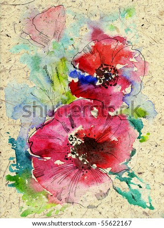 Watercolor poppies on texture paper. - stock photo