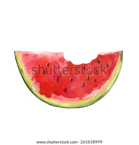 Watercolor watermelon slice with seeds and bite closeup isolated on white background. Hand painting on paper - stock photo