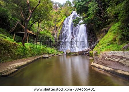 Waterfall efrata location Samosir Island North Sumatra - stock photo