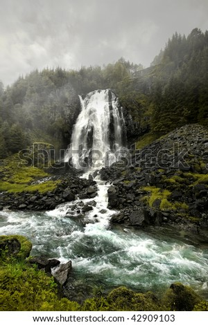 """Waterfall in fog"" - stock photo"