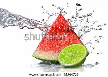 ?watermelon, lime and water splash isolated on white