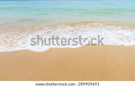 Wave of the sea on the sand beach A Beautiful