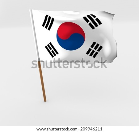 waving south korea flag on the flag pole