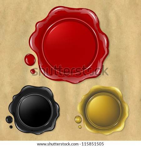 3 Wax Seal, Isolated On Old Paper Background