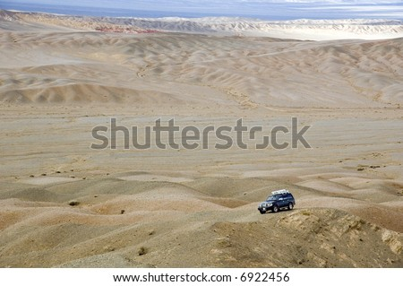 4WD in Gobi desert - stock photo