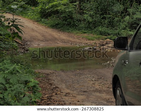 4wd tyre tracks route - stock photo