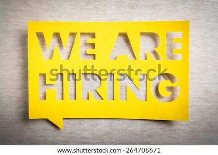 """We are hiring"" yellow banner on white texture background. Job board design, template. - stock photo"