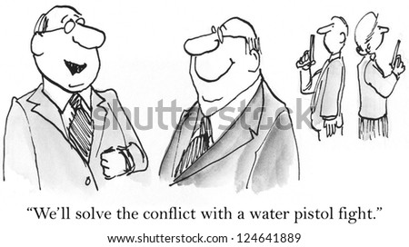 """We'll solve the conflict with a water pistol fight."" - stock photo"